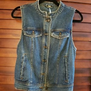 FREE PEOPLE SIZE SMALL LACE UP DENIM VEST